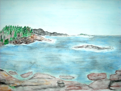 Beclecto watercolor of Maine Vacation Painting